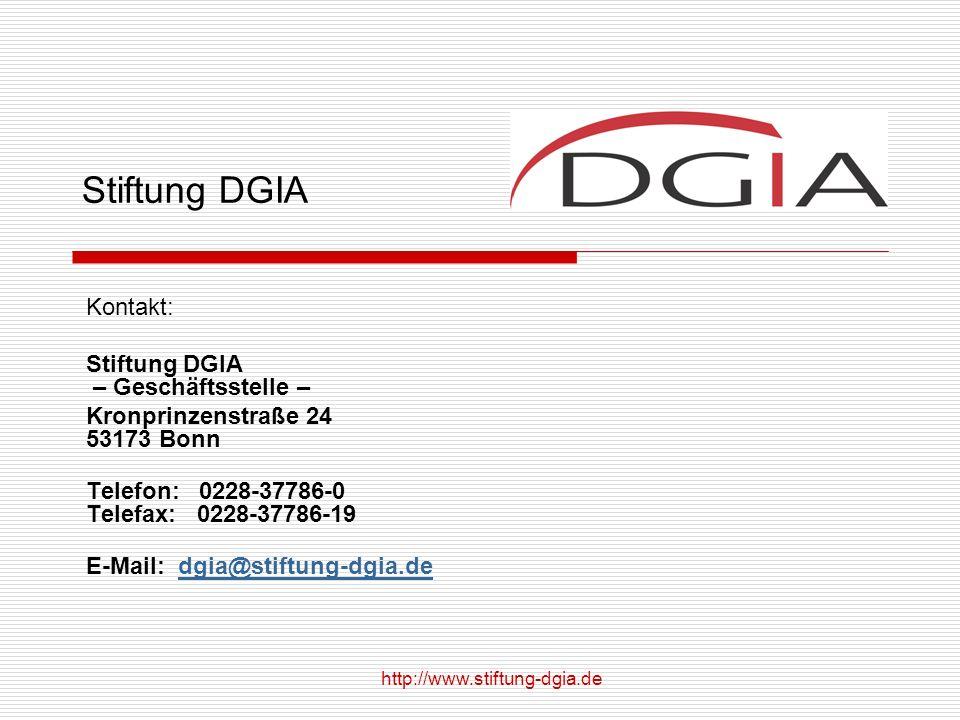 Stiftung DGIA Kontakt: Stiftung DGIA – Geschäftsstelle –