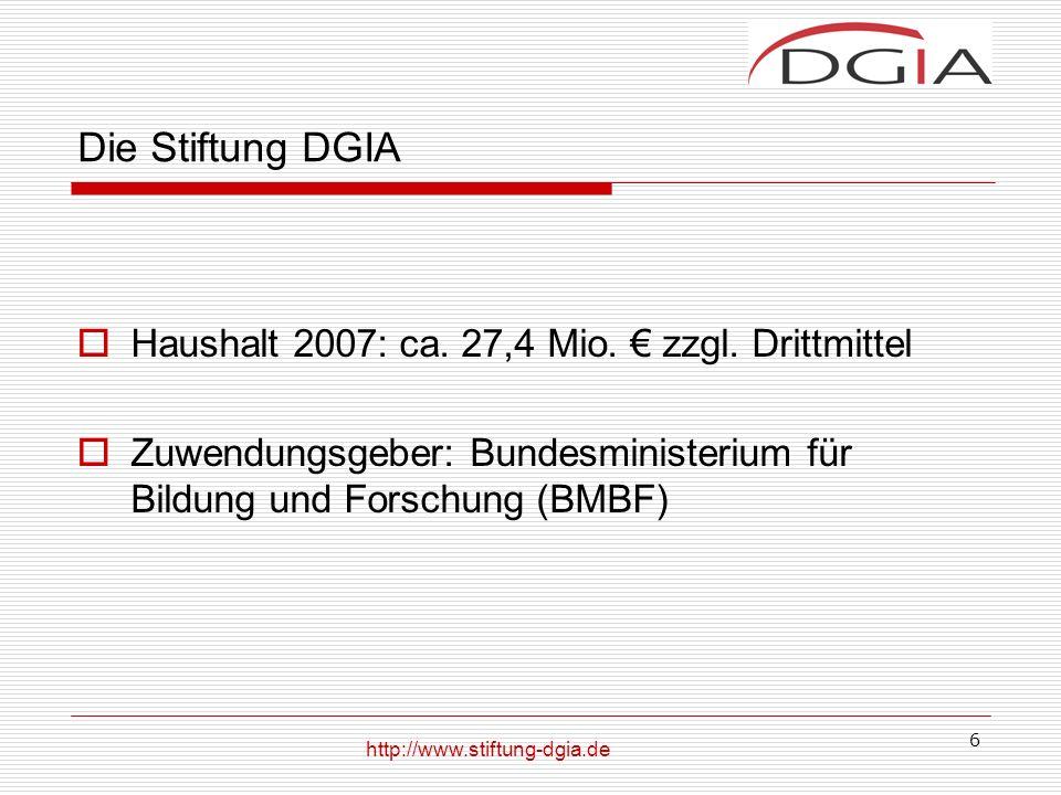 Die Stiftung DGIA Haushalt 2007: ca. 27,4 Mio. € zzgl. Drittmittel