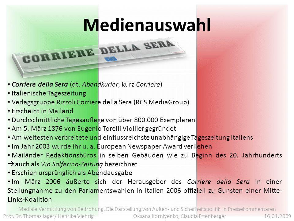Medienauswahl Corriere della Sera (dt. Abendkurier, kurz Corriere)