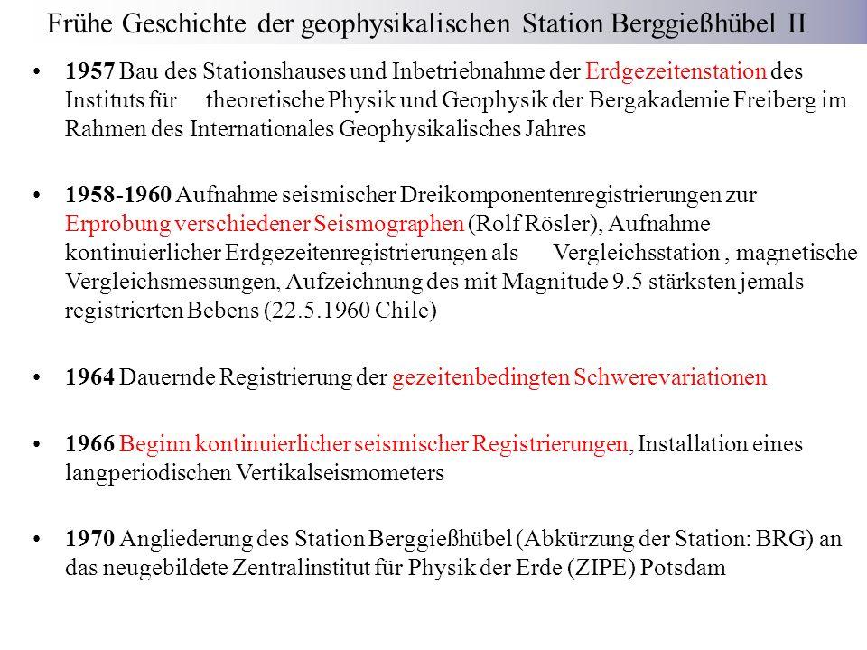 Frühe Geschichte der geophysikalischen Station Berggießhübel II