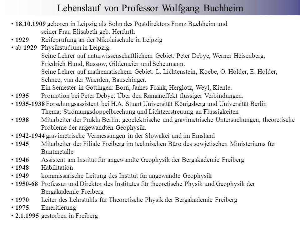 Lebenslauf von Professor Wolfgang Buchheim