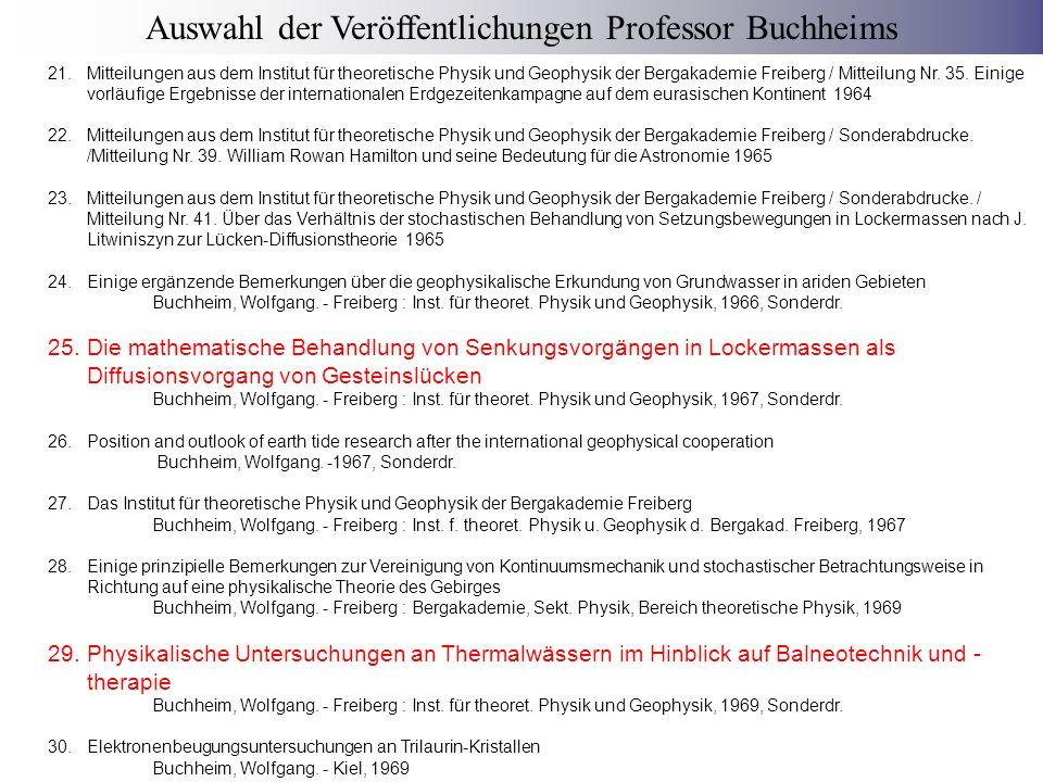 Auswahl der Veröffentlichungen Professor Buchheims
