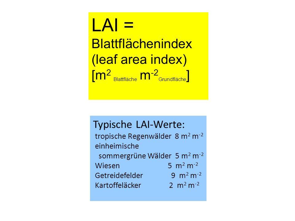 LAI = Blattflächenindex (leaf area index)