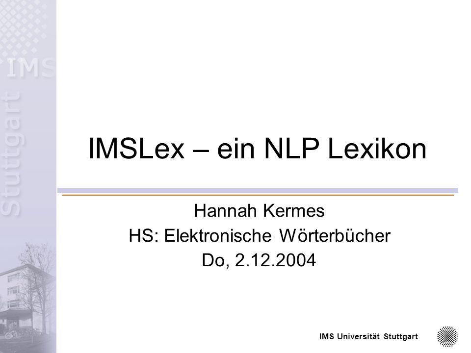 IMSLex – ein NLP Lexikon