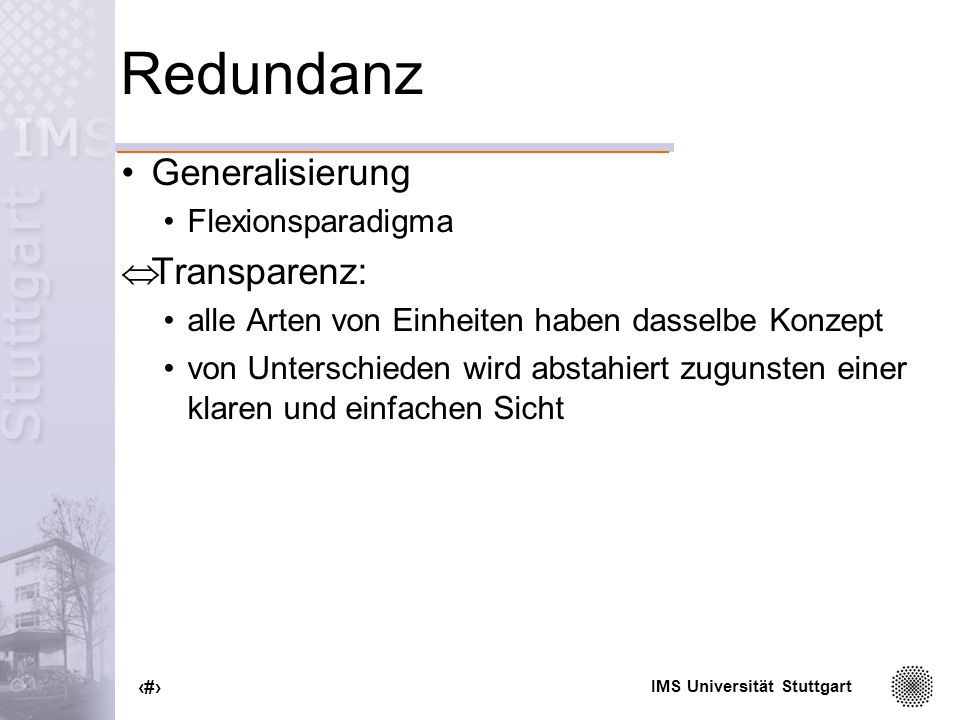 Redundanz Generalisierung Transparenz: Flexionsparadigma