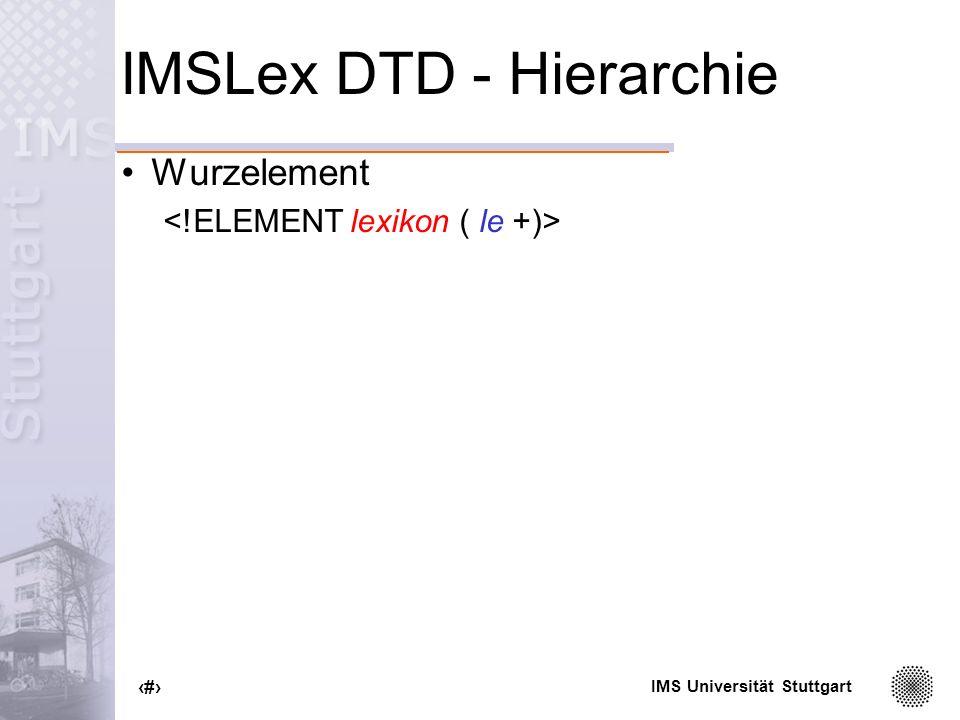 IMSLex DTD - Hierarchie