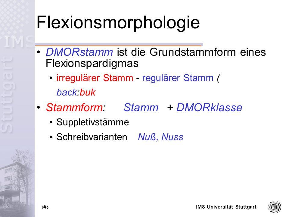Flexionsmorphologie DMORstamm ist die Grundstammform eines Flexionspardigmas. irregulärer Stamm - regulärer Stamm (
