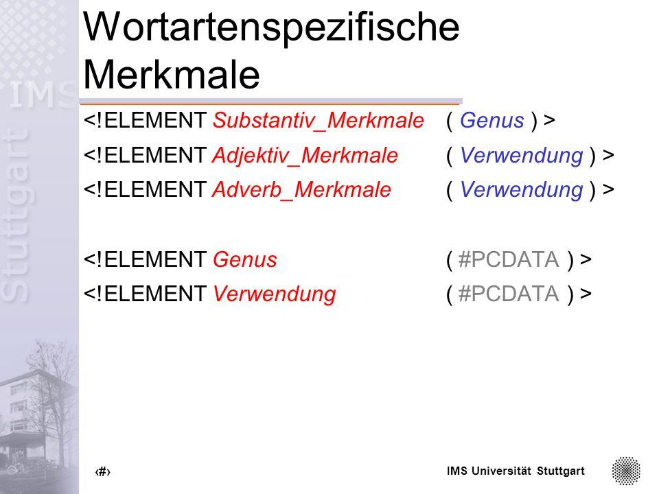Wortartenspezifische Merkmale