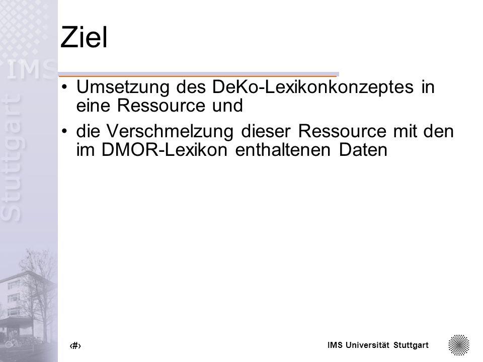 Ziel Umsetzung des DeKo-Lexikonkonzeptes in eine Ressource und