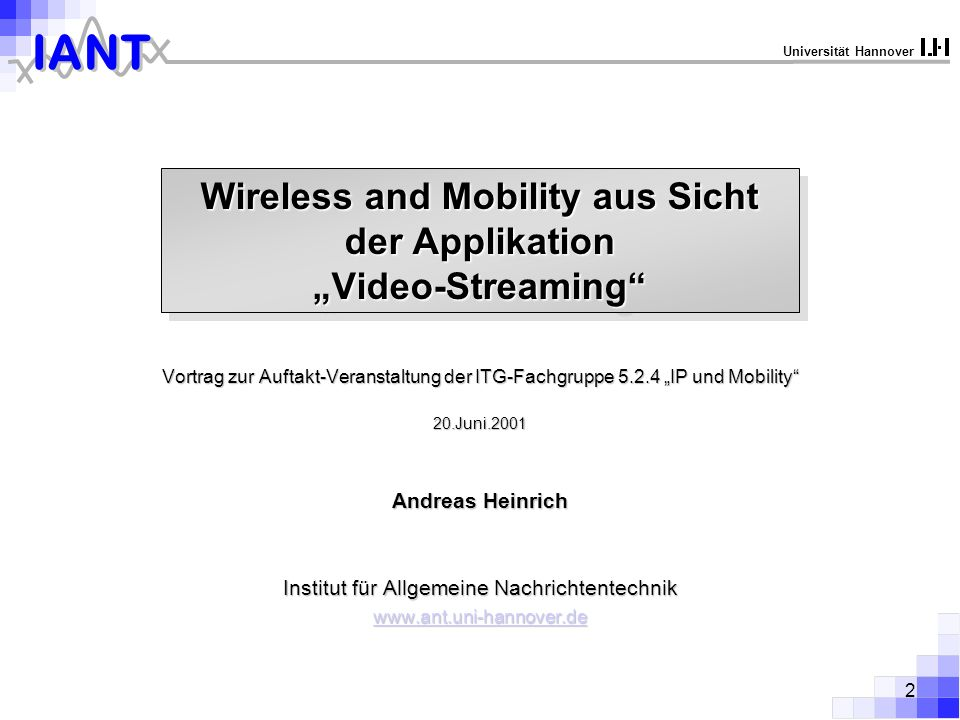 "Wireless and Mobility aus Sicht der Applikation ""Video-Streaming"