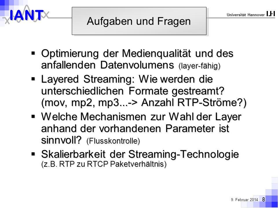 Aufgaben und Fragen Optimierung der Medienqualität und des anfallenden Datenvolumens (layer-fähig)