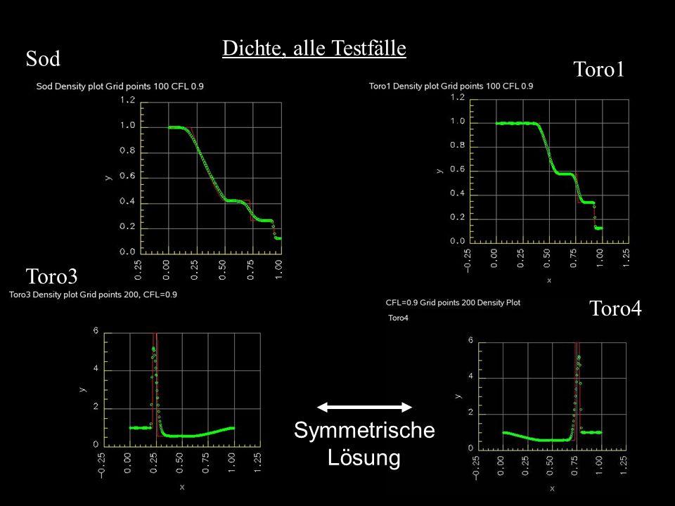 Dichte, alle Testfälle Sod Toro1 Toro3 Toro4 Symmetrische Lösung