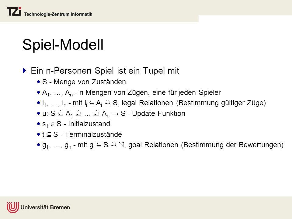 Spiel-Modell Ein n-Personen Spiel ist ein Tupel mit