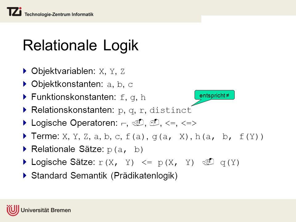 Relationale Logik Objektvariablen: X, Y, Z Objektkonstanten: a, b, c