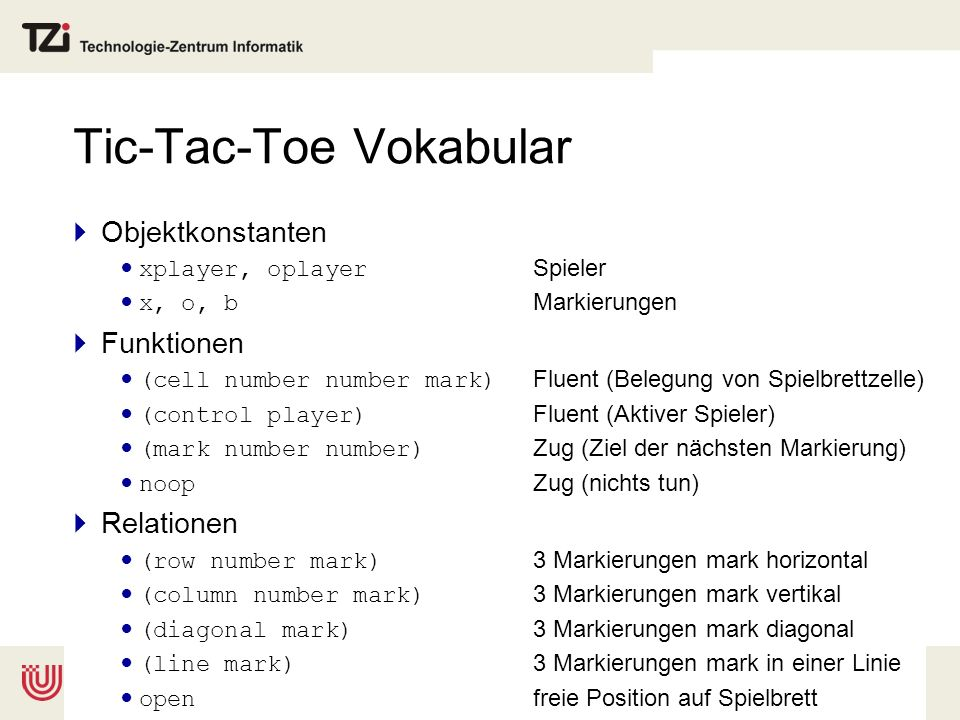 Tic-Tac-Toe Vokabular