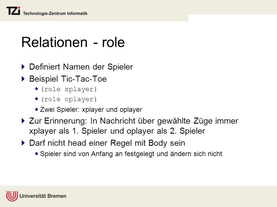 Relationen - role Definiert Namen der Spieler Beispiel Tic-Tac-Toe