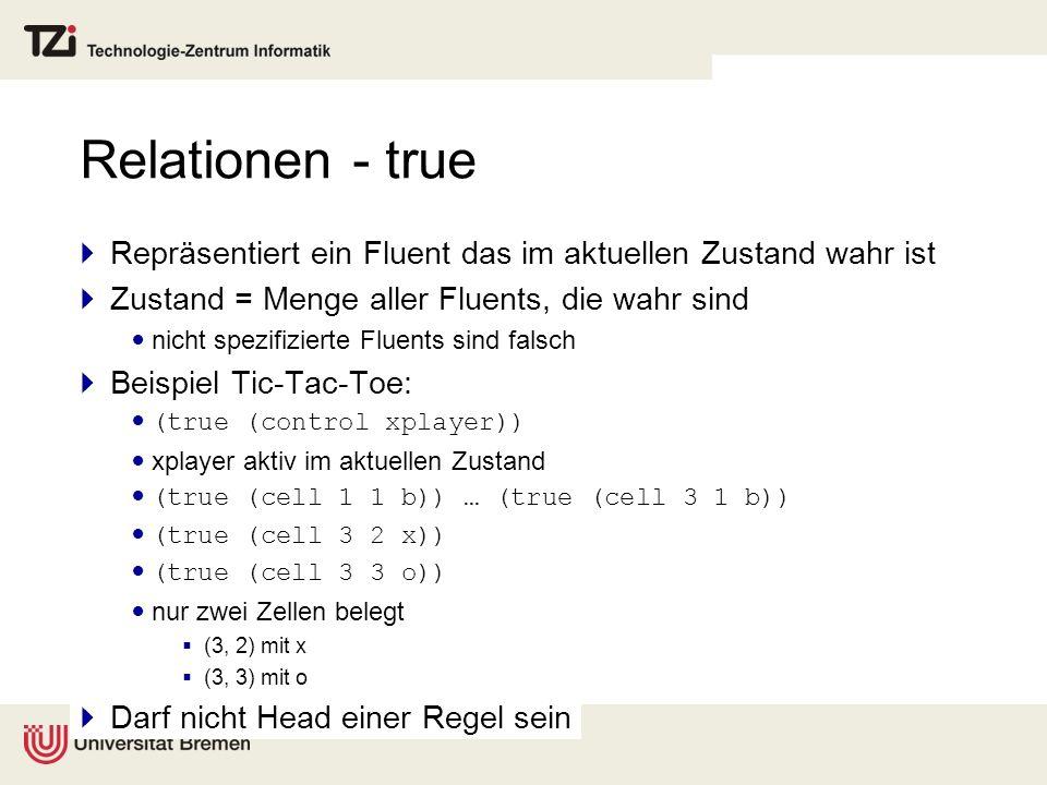 Relationen - true Repräsentiert ein Fluent das im aktuellen Zustand wahr ist. Zustand = Menge aller Fluents, die wahr sind.