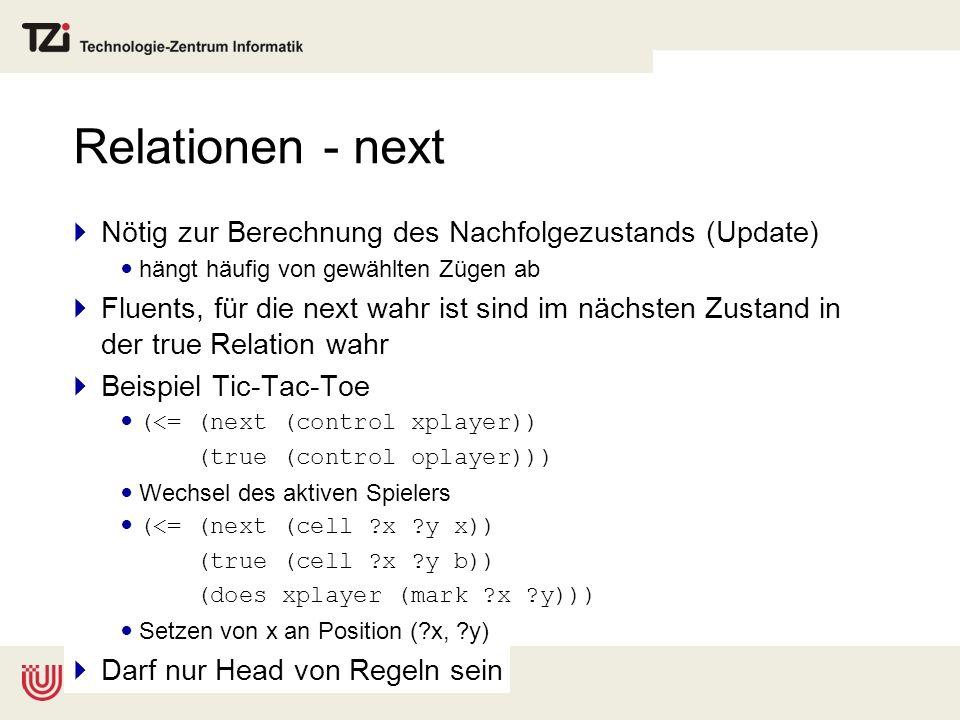 Relationen - next Nötig zur Berechnung des Nachfolgezustands (Update)