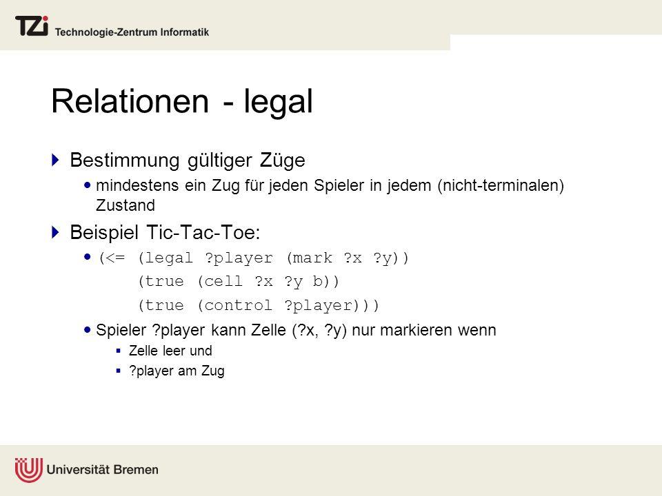 Relationen - legal Bestimmung gültiger Züge Beispiel Tic-Tac-Toe: