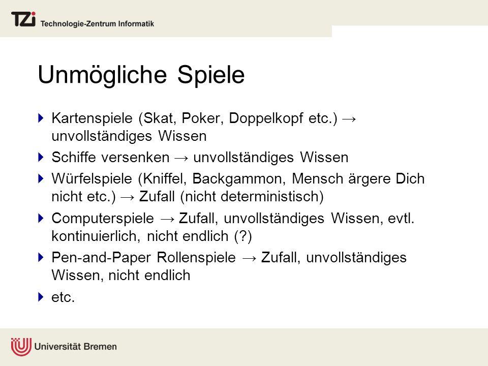 Unmögliche Spiele Kartenspiele (Skat, Poker, Doppelkopf etc.) → unvollständiges Wissen. Schiffe versenken → unvollständiges Wissen.