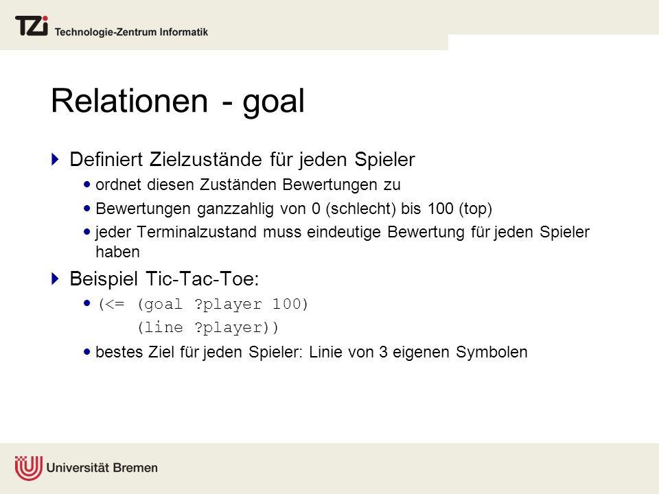 Relationen - goal Definiert Zielzustände für jeden Spieler
