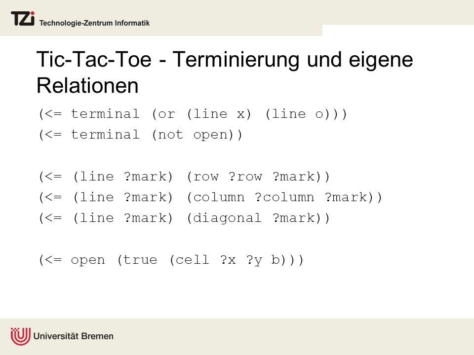 Tic-Tac-Toe - Terminierung und eigene Relationen