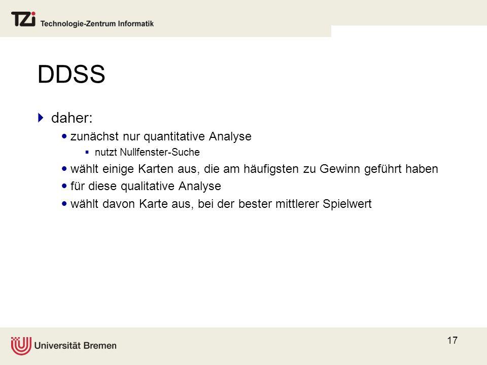 DDSS daher: zunächst nur quantitative Analyse