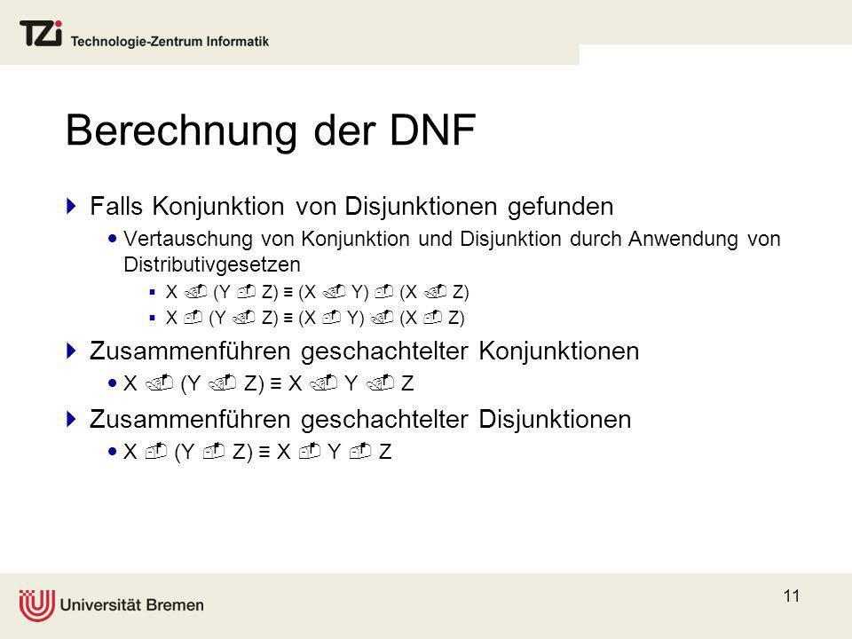 Berechnung der DNF Falls Konjunktion von Disjunktionen gefunden
