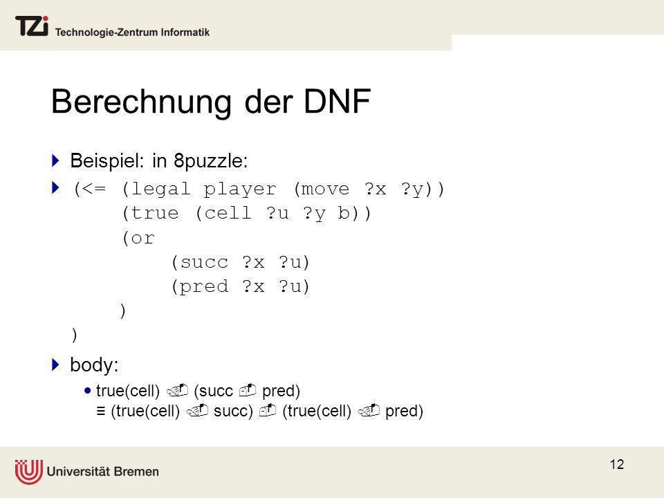 Berechnung der DNF Beispiel: in 8puzzle: