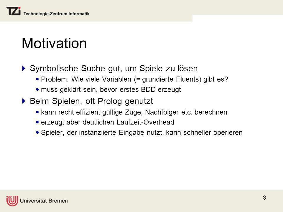 Motivation Symbolische Suche gut, um Spiele zu lösen