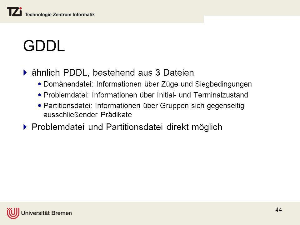 GDDL ähnlich PDDL, bestehend aus 3 Dateien