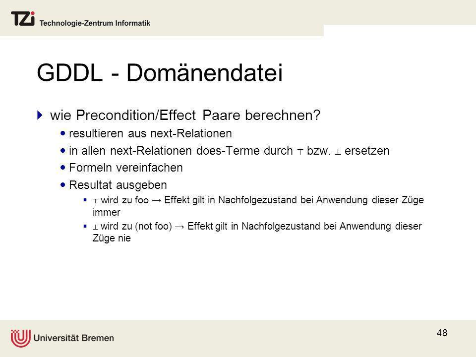 GDDL - Domänendatei wie Precondition/Effect Paare berechnen