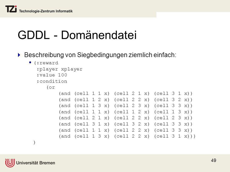 GDDL - Domänendatei Beschreibung von Siegbedingungen ziemlich einfach: