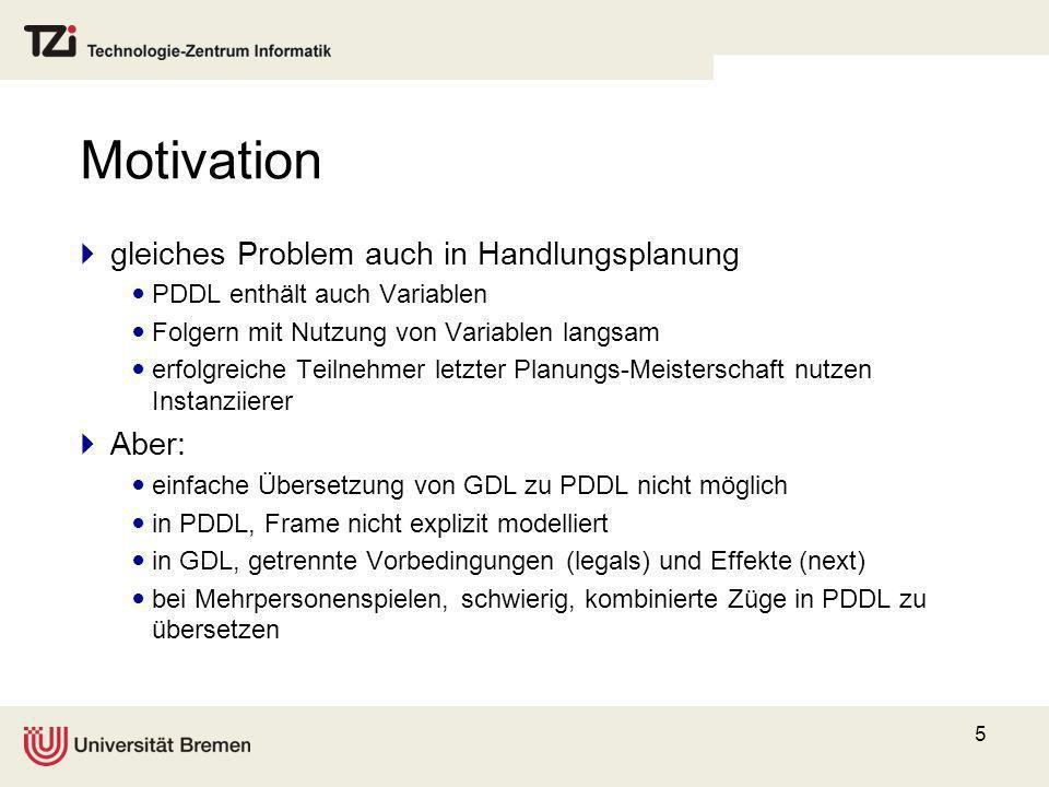 Motivation gleiches Problem auch in Handlungsplanung Aber:
