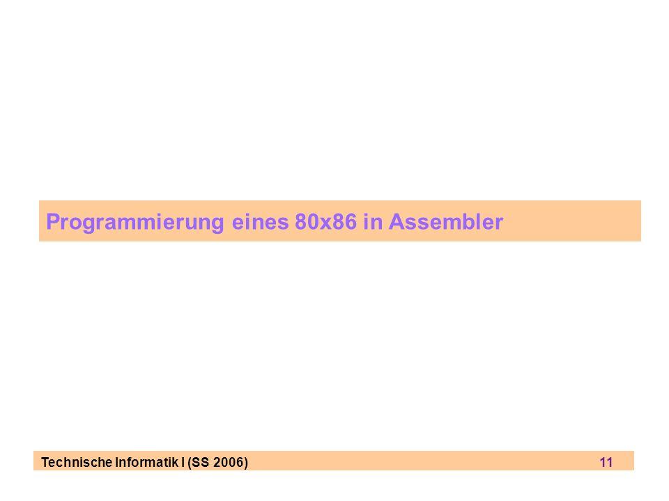 Programmierung eines 80x86 in Assembler