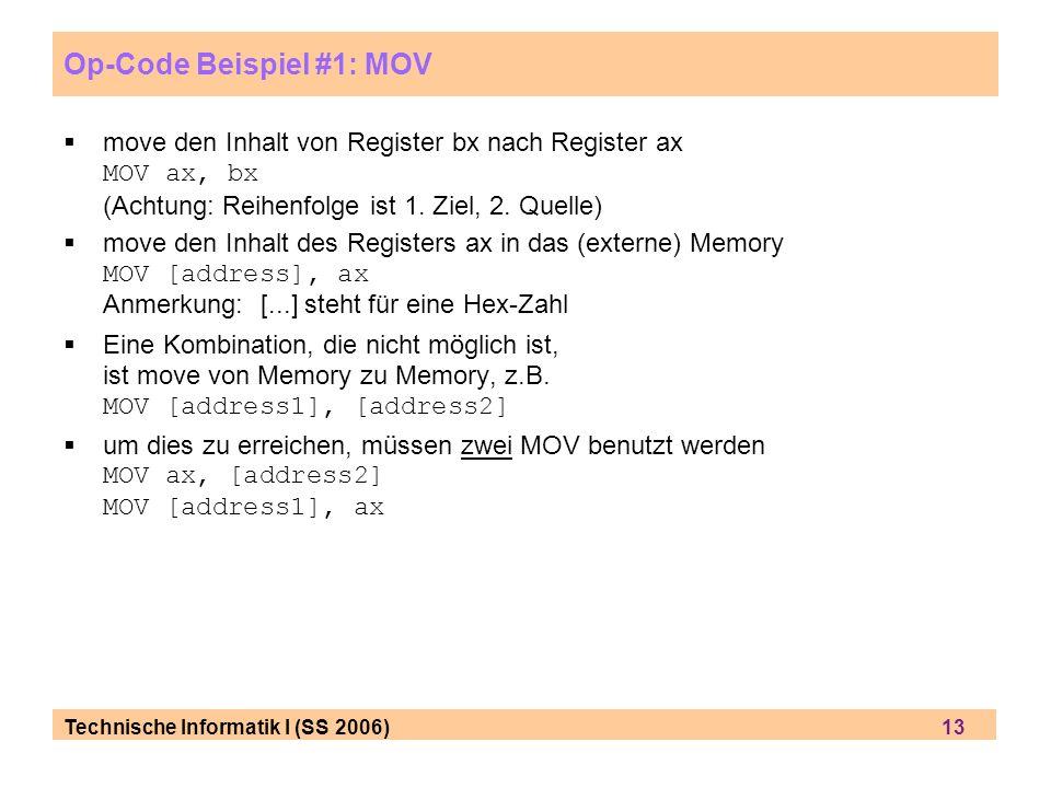 Op-Code Beispiel #1: MOV
