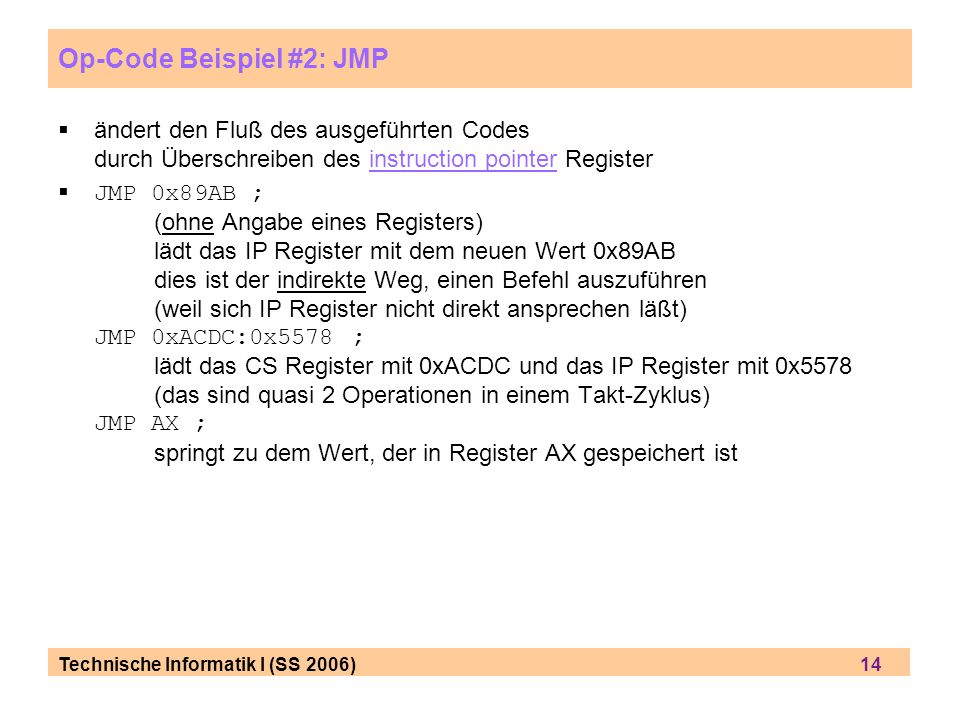 Op-Code Beispiel #2: JMP