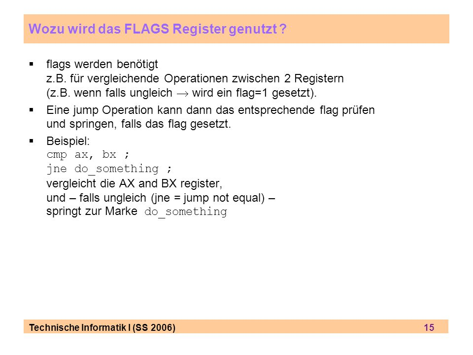 Wozu wird das FLAGS Register genutzt