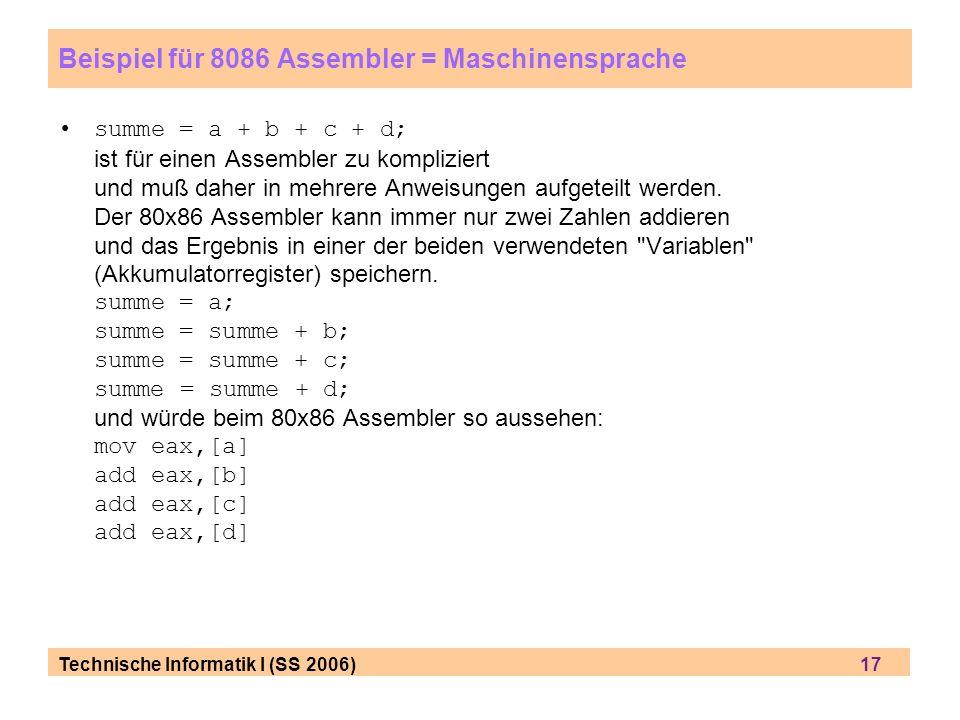 Beispiel für 8086 Assembler = Maschinensprache