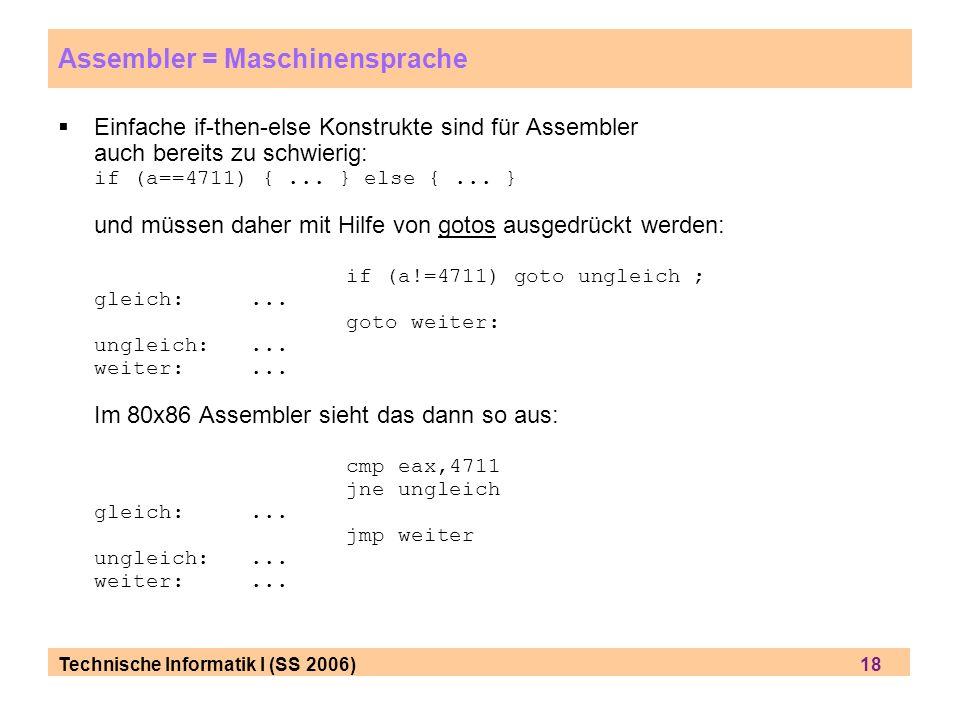 Assembler = Maschinensprache