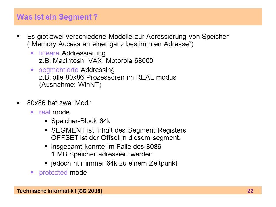 """Was ist ein Segment Es gibt zwei verschiedene Modelle zur Adressierung von Speicher (""""Memory Access an einer ganz bestimmten Adresse )"""