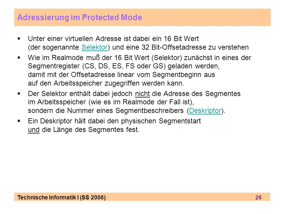 Adressierung im Protected Mode