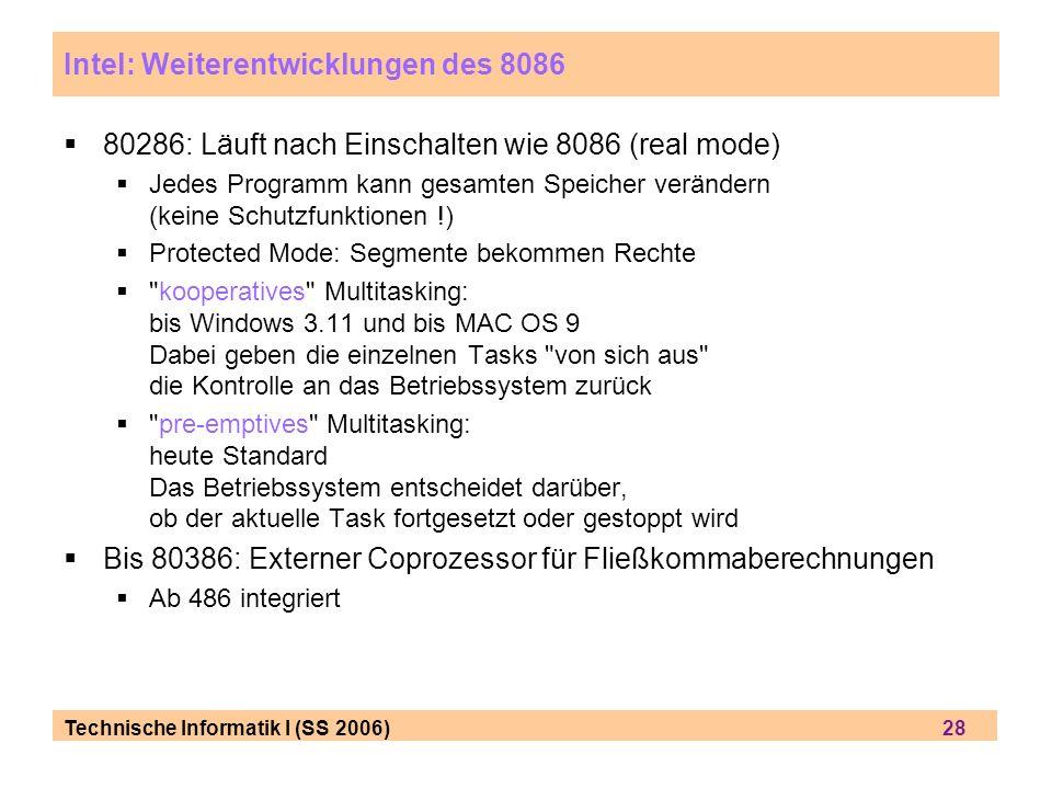 Intel: Weiterentwicklungen des 8086
