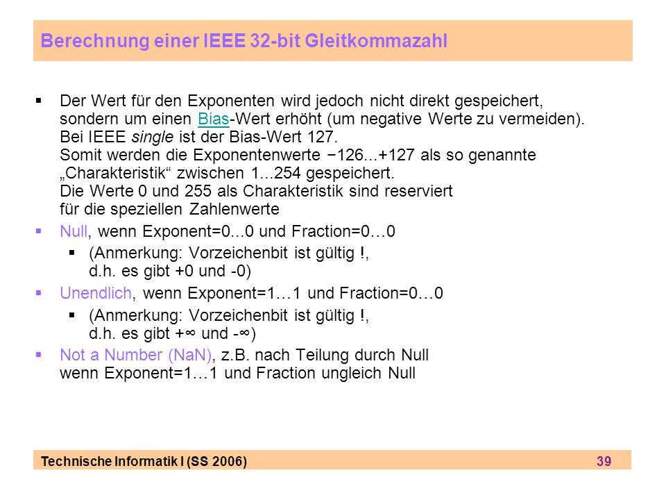 Berechnung einer IEEE 32-bit Gleitkommazahl