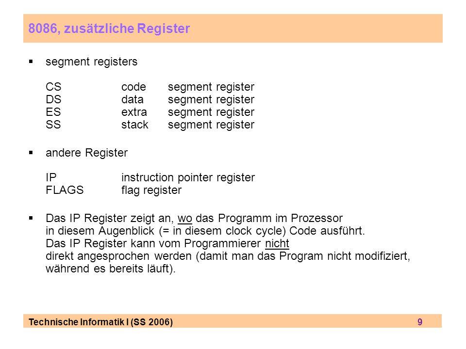 8086, zusätzliche Register