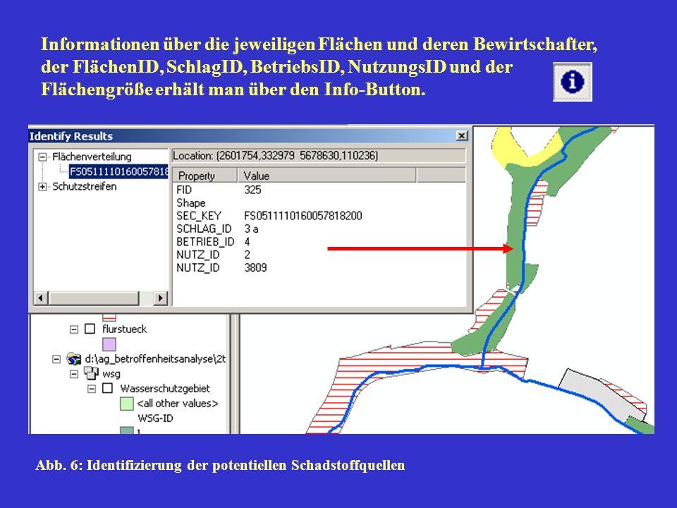 Informationen über die jeweiligen Flächen und deren Bewirtschafter, der FlächenID, SchlagID, BetriebsID, NutzungsID und der Flächengröße erhält man über den Info-Button.