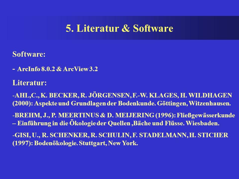 5. Literatur & Software Software: - ArcInfo 8.0.2 & ArcView 3.2