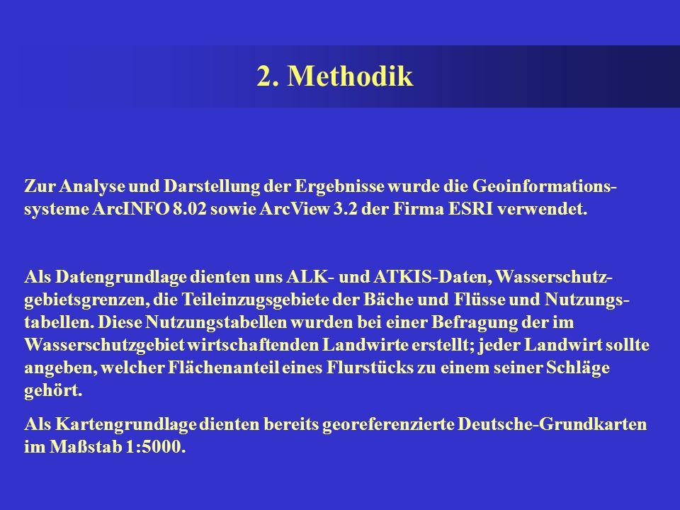 2. Methodik Zur Analyse und Darstellung der Ergebnisse wurde die Geoinformations-systeme ArcINFO 8.02 sowie ArcView 3.2 der Firma ESRI verwendet.