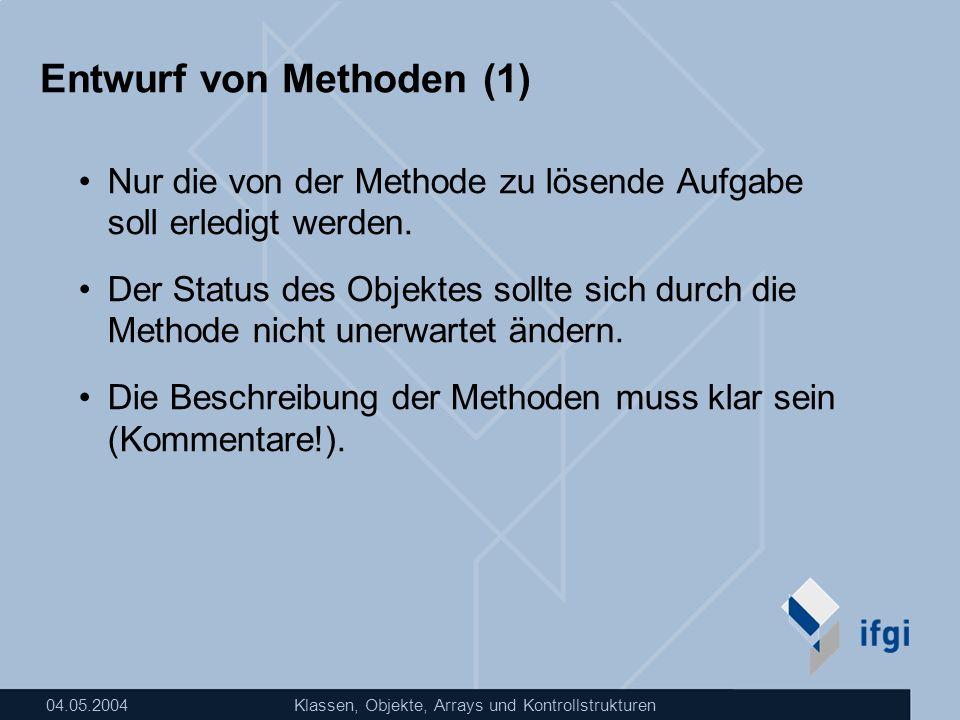 Entwurf von Methoden (1)