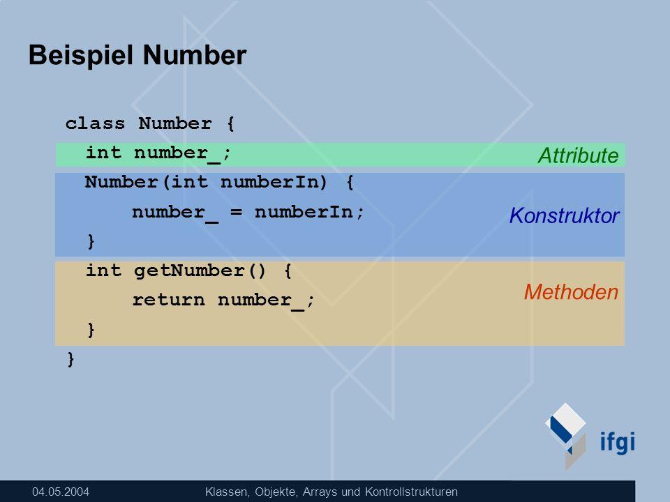 Beispiel Number Attribute Konstruktor Methoden class Number {